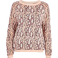 Light pink snake print boxy jumper