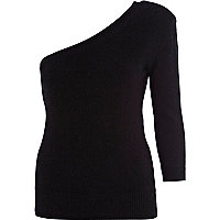 Black angora-blend one shoulder jumper
