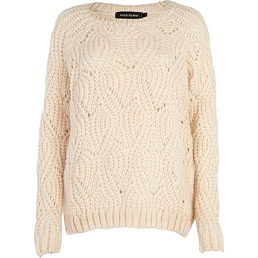 Cream knit pattern jumper