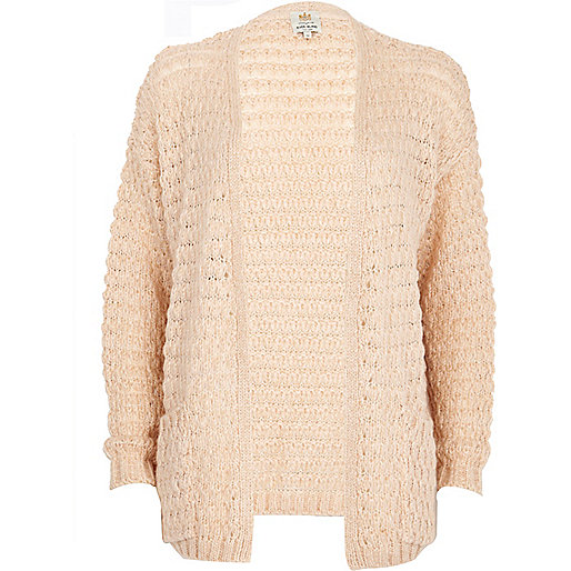 Light pink bobble stitch unfastened cardigan