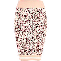 Light pink snake print knitted tube skirt