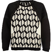 Black geometric print scuba sweat