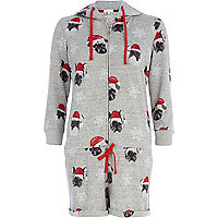 Grey Christmas pug print playsuit
