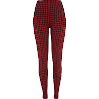 Red dogtooth high waisted leggings