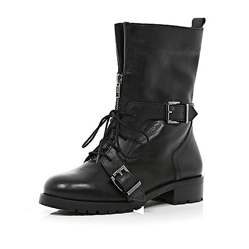 Black lace up biker boots