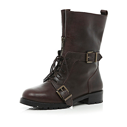 Dark brown lace up biker boots