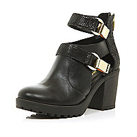 Black cleated sole cut out ankle boots