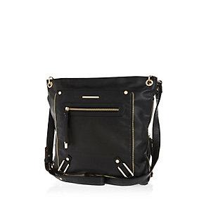 Black zip trim messenger handbag
