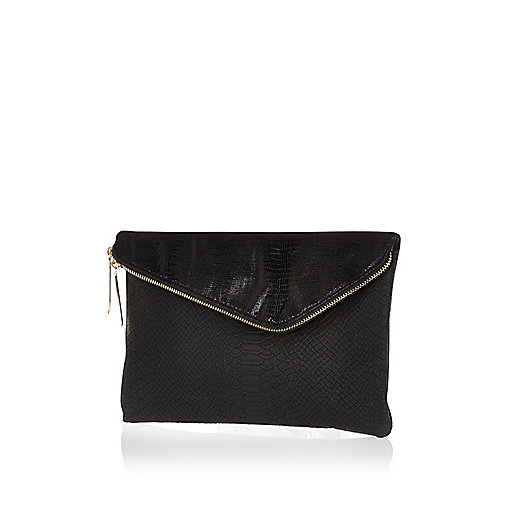 Black asymmetric zip large clutch bag