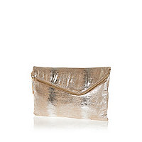 Gold asymmetric zip large clutch bag