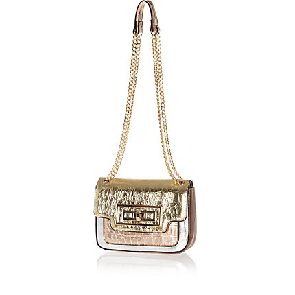 Mixed metallic croc cross body bag