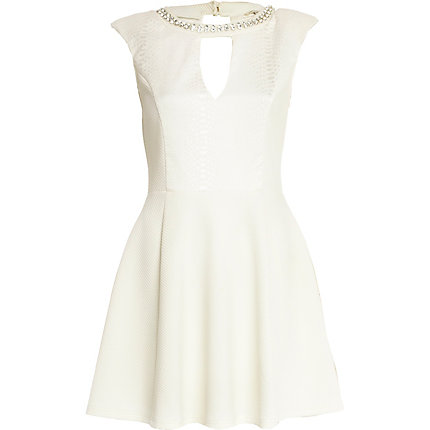 White snake panel necklace skater dress