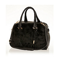 Black faux fur bowler bag