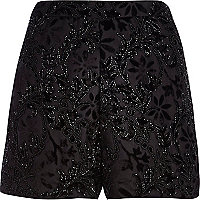 Black devore embellished shorts
