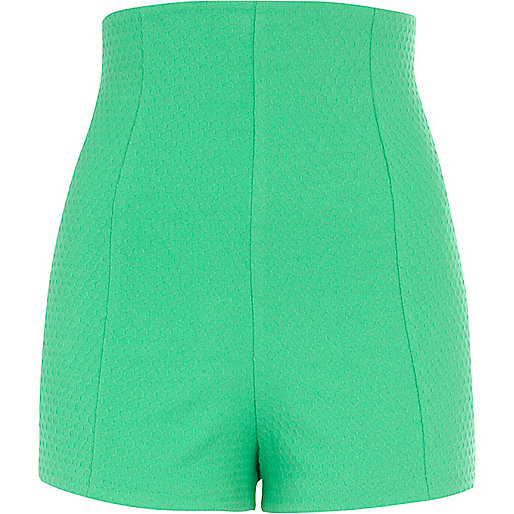 Green textured high waisted shorts