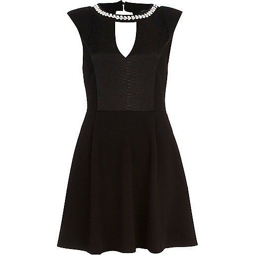 Black snake panel necklace skater dress