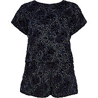 Navy floral embellished playsuit