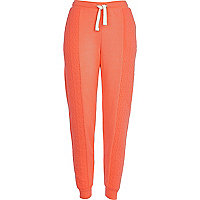 Coral quilted panel joggers