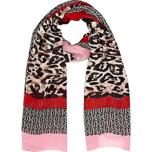 Brown leopard RI border print scarf