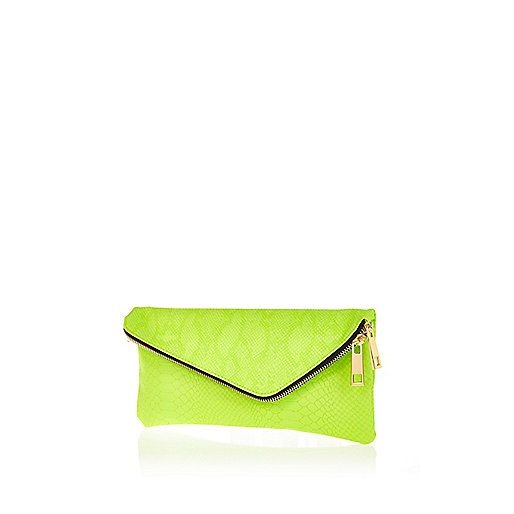 Lime snake asymmetric zip clutch bag