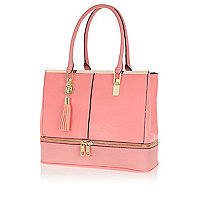 Pink zip base tote bag