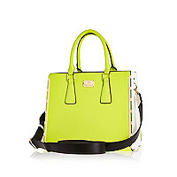 Lime colour block metal trim tote bag