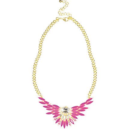 Pink fluro crystal statement necklace