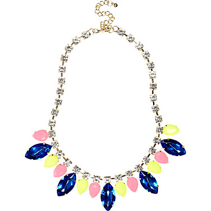 Blue teardop crystal statement necklace