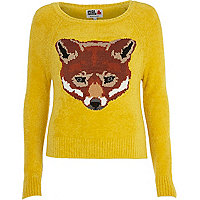 Yellow Chelsea Girl fox face jumper