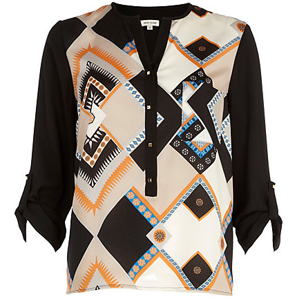 Orange geometric print roll sleeve blouse