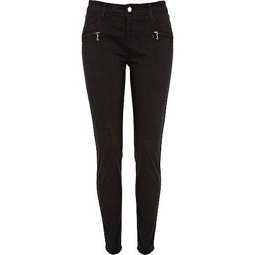 Black skinny biker trousers