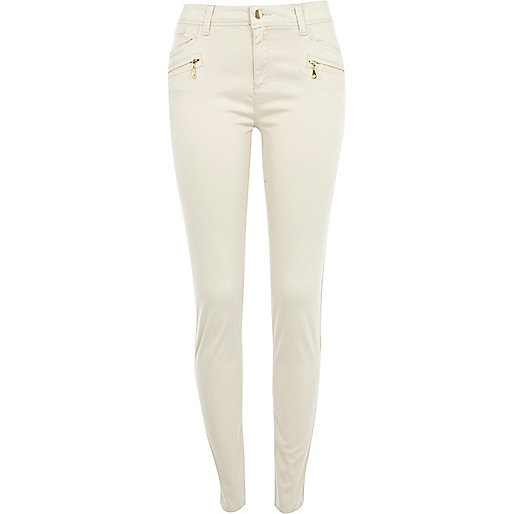 Cream skinny biker trousers