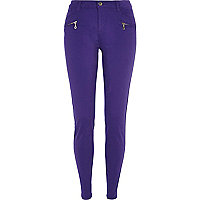 Dark purple skinny biker trousers