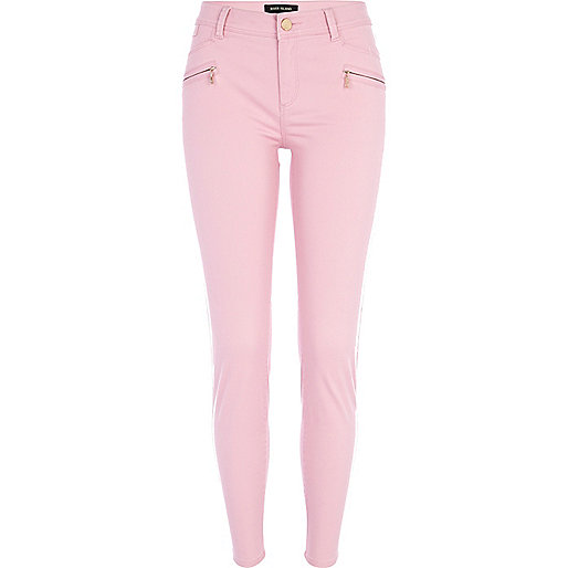 Light pink skinny biker trousers