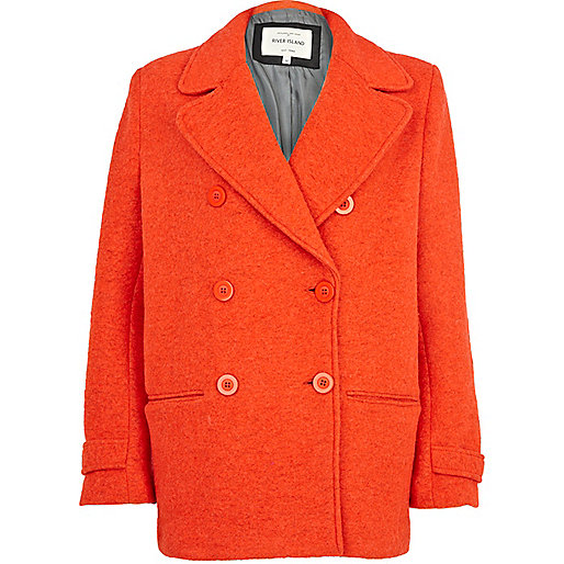 Orange boyfriend peacoat