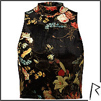 Black Rihanna floral turtle neck crop top
