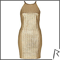 Gold Rihanna embossed racer front dress