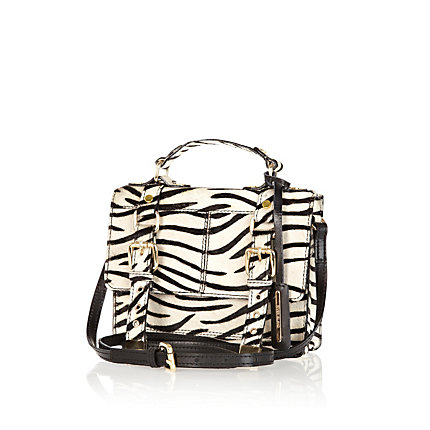 White zebra leather ponyskin mini satchel