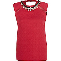 Red jacquard necklace shell top