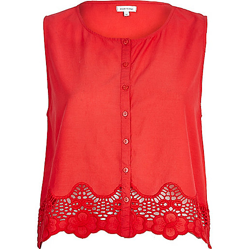 Red lace trim button through crop top