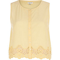 Yellow lace trim button through crop top