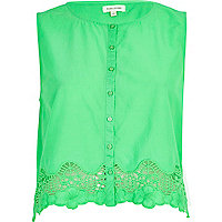 Green lace trim button through crop top