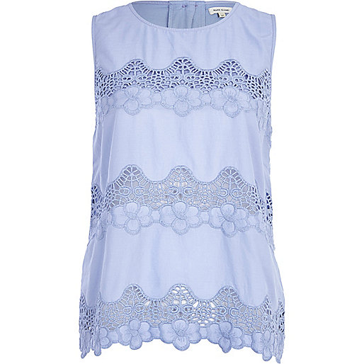 Light blue lace panel tank top