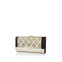 White laser cut colour block purse