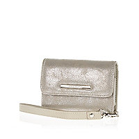 Grey metallic phone holder purse