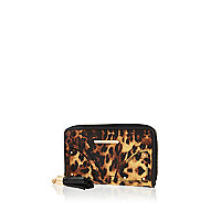 Brown leopard print purse