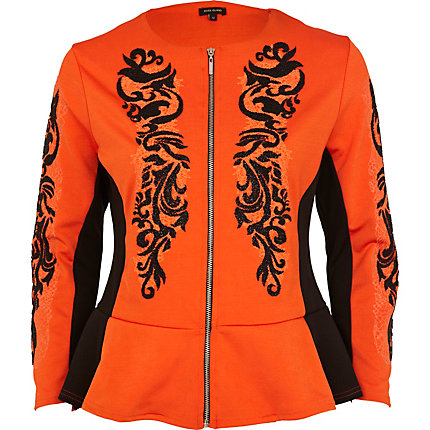 Orange oriental beaded peplum jacket