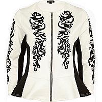 White oriental beaded peplum jacket