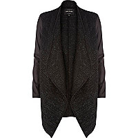 Black lurex contrast sleeve waterfall jacket