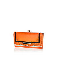 Orange croc colour block purse